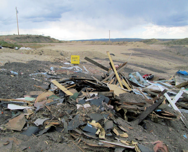 Construction debris pile High Country Joint Powers Landfill Hanna Wyoming