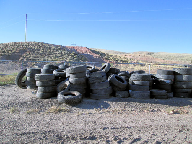 Tire pile at High Country Joint Powers Landfill Hanna Wyoming