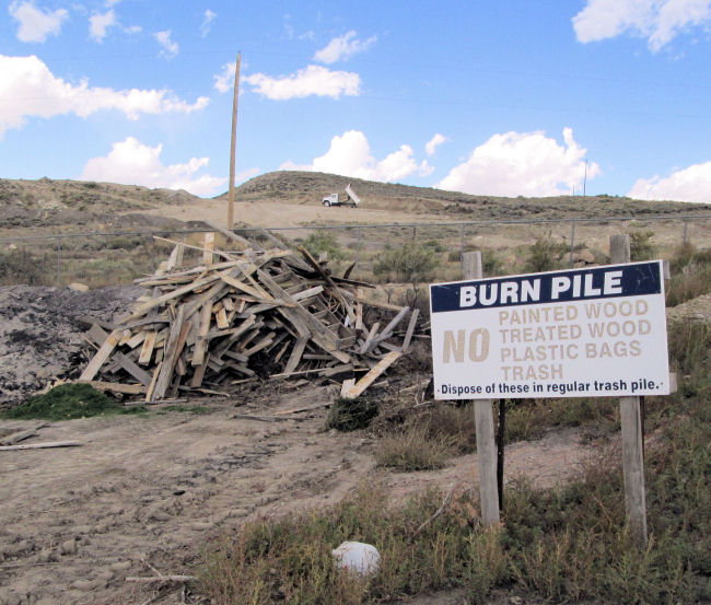 Burn pile High Country Joint Powers Landfill Hanna Wyoming