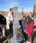Nancy Anderson and children at Old Carbon Cemetery 2007