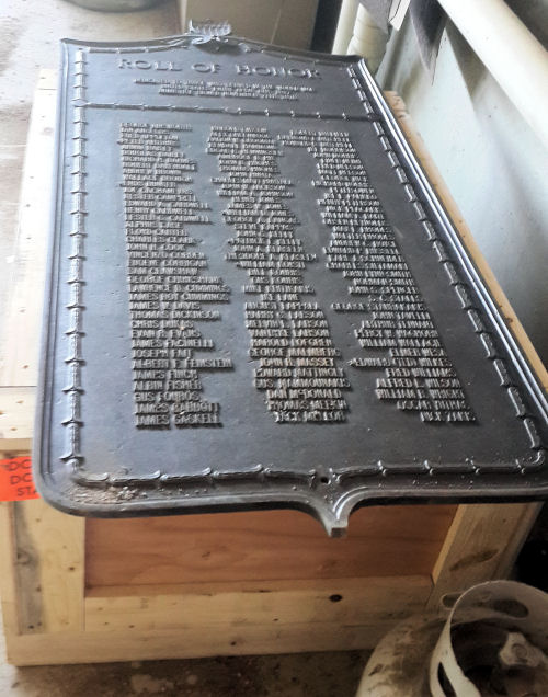 recovered plaque will be restored to the monument